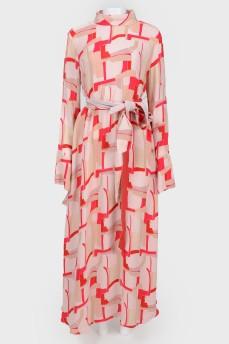 Платье в пол с поясом с биркой