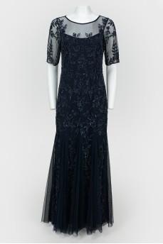 Вечернее платье с юбкой-годе с кружевом и бисером