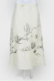 """Длинная юбка с рисунком """"пустыня"""""""