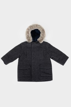 Куртка детская с капюшоном с мехом