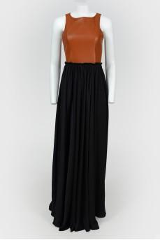Платье в пол с кожаным лифом