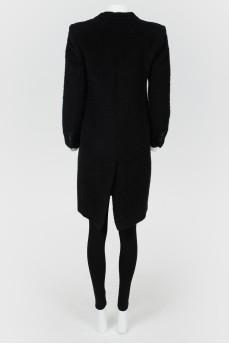 Пальто однобортное с отложным воротником