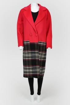 Комбинированное двубортное пальто на кнопках