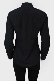 Рубашка черная на пуговицах