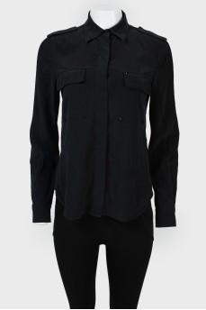 Рубашка с нагрудными карманами с заклепками