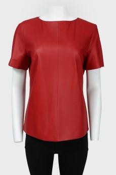 Кожаная блуза с коротким рукавом