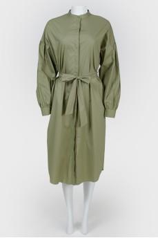 Платье-рубашка с тканевым поясом с биркой