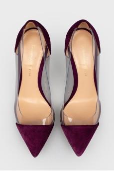 Замшевые туфли с прозрачными пластиковыми вставками