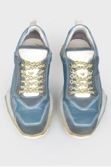 Мужские кроссовки комбинированные из кожи и замши