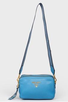 Кожаная сумка Blue Textured Camera Bag