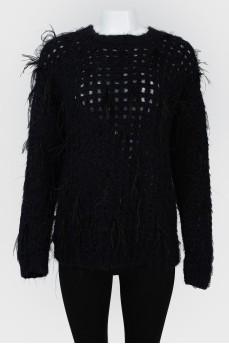 Вязаный свитер с ажурным верхом