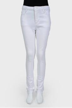 Джинсы-скинни белые с высокой посадкой