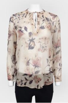 Блуза прямого кроя в крупный цветочный принт