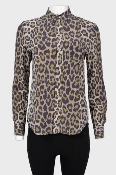 Блуза с леопардовым принтом на пуговицах