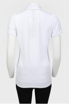 Поло белого цвета с коротким рукавом с биркой