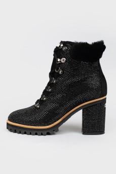 Ботинки черные со стразами и мехом
