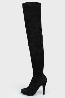 Сапоги высокие черные замшевые на шпильке