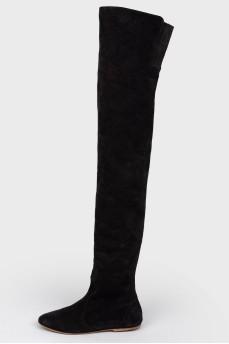 Сапоги-ботфорты черные замшевые на низком ходу