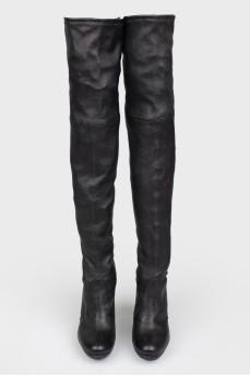 Сапоги черные кожаные на каблуке