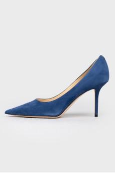 Туфли синие замшевые на шпильке