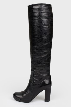 Сапоги кожаные черные на молнии