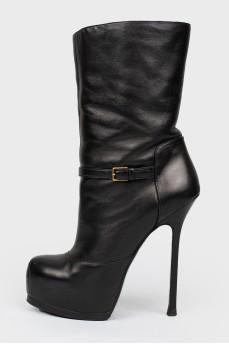 Сапоги черные кожаные на шпильке