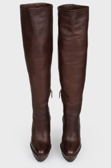 Сапоги кожаные коричневые на каблуке