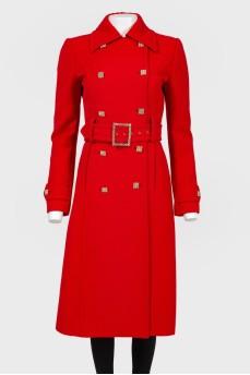 Пальто красное приталенное с поясом