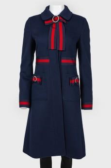 Шерстяное синее пальто силуэта трапеция