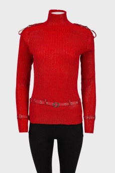 Свитер красный с кожаными ремешками