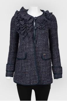 Твидовый пиджак синего цвета
