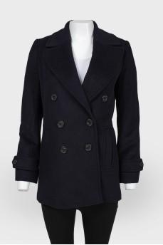 Шерстяное пальто темно-синего цвета