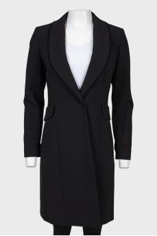 Черное шерстяное пальто на кнопке
