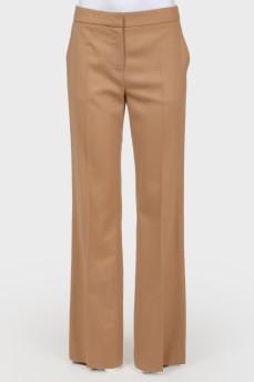 Коричневые брюки прямого кроя из шерсти верблюда