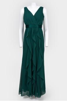 Вечернее изумрудное платье в пол с биркой