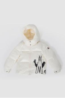 Детская куртка кремовая с черным рисунком