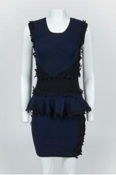 Темно-синее шерстяное платье без рукавов