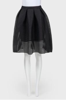 Перфорированная черная юбка-солнце