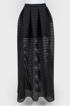 Перфорированная черная юбка-макси