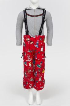 Детский красный комбинезон с мультяшными персонажами