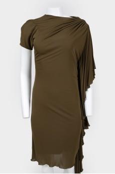 Платье прямого кроя цвета хаки