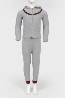Детский комплект из кофты и штанов серого цвета