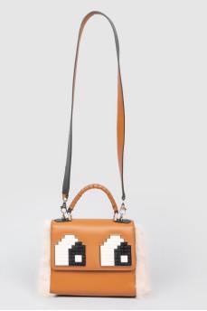 Коричневая кожаная сумка с мехом и вставками Лего
