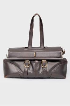 Темно-коричневая большая сумка на ручках