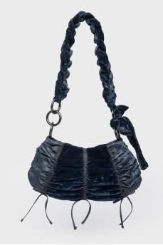 Темно-синяя текстильная сумочка с бархатом