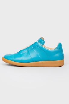 Кожаные кроссовки Replica голубого цвета