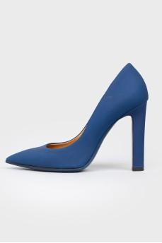 Синие туфли из матовой кожи