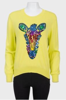 Лимонный свитер с пайетками