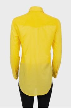 Рубашка желтая с золотистыми кнопками