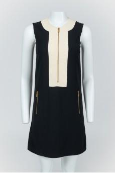 Черно-бежевое платье без рукавов на молнии с биркой